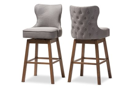 Gradisca Bar Stool Gray And Walnut Brown (Set Of 2)