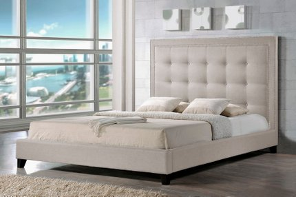 Somer Queen Bed And Bench Set Light Beige