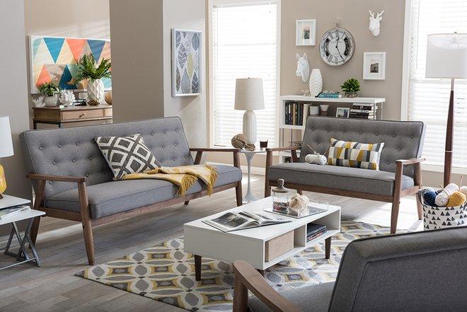 Sorrento Upholstered Living room Set Gray