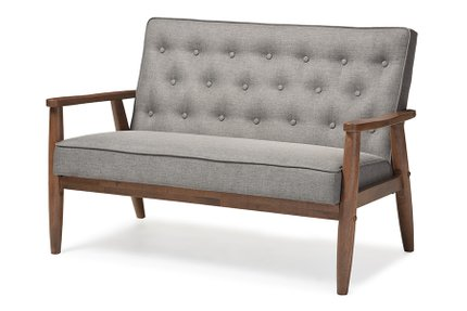 Baxton Studio Sorrento Loveseat Gray