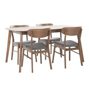 Feldman Dining Set For 4 Natural Walnut And Gray