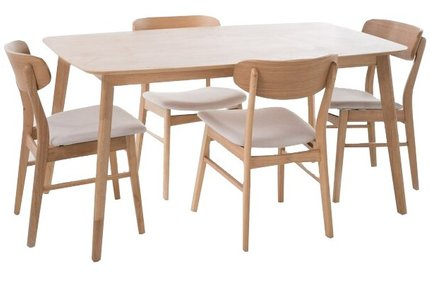 Feldman Dining Set For 4 Natural Oak And Light Beige