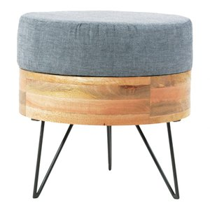 Pouf Round Light Gray And Natural