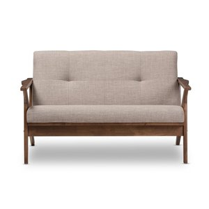 Baxton Studio Loveseat Light Gray And Walnut