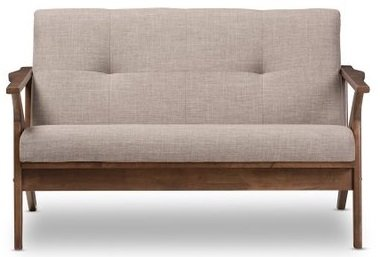 Bianca Loveseat Light Gray And Walnut