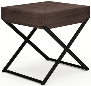 Enzo Side Table With Drawer Brown Walnut