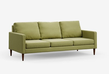 Modern Sofa Sprouted Green & Mahogany