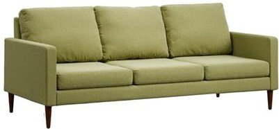Campaign Modern Sofa Sprouted Green & Mahogany
