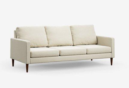 Campaign Modern Sofa Almond White With Matte Mahogany