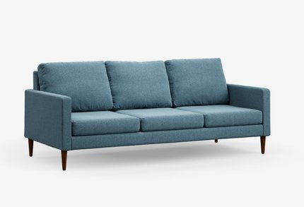 Campaign Modern Sofa Meridian Blue With Matte Mahogany