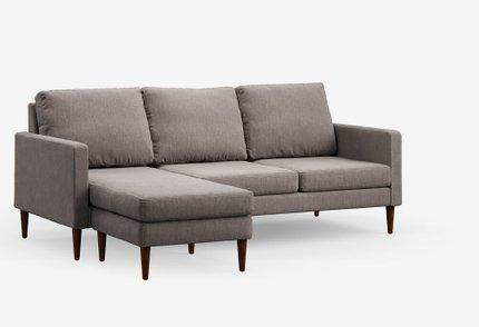 Reversible Sectional Sofa Pebble Gray & Mahogany