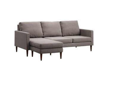 Campaign Reversible Sectional Sofa Pebble Gray & Mahogany