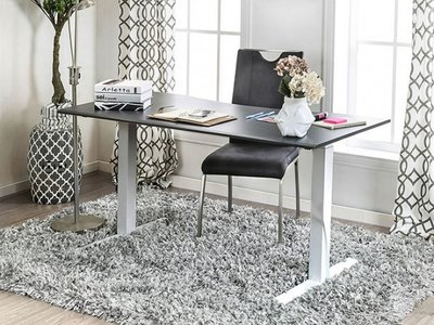Hedvig Adjustable Height Large Desk Gray And White