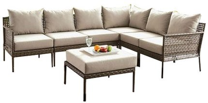 Aleisha Outdoor Sectional Sofa Gray & Beige