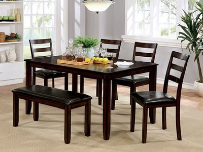 Gloria Dining Set For 6 Brown Cherry
