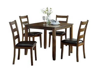 Gracefield Dining Set For 4 Walnut And Dark Brown