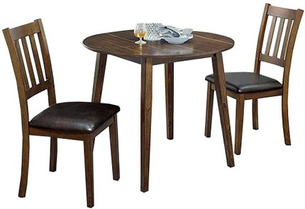 Blackwood Round Dining Set For 2 Walnut And Dark Brown