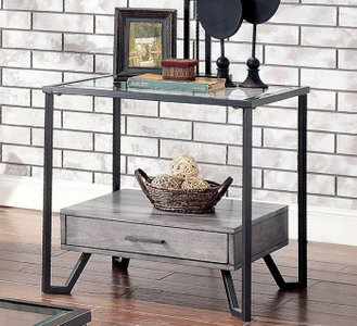 Ponderay End Table Gray And Black