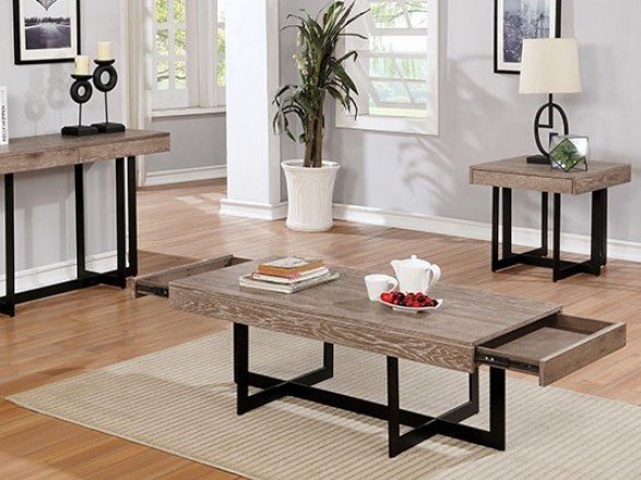 Sawyer Coffee Table Gray Wash And Sand Black