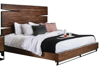 Fulton Queen Bed Dark Oak And Dark Walnut