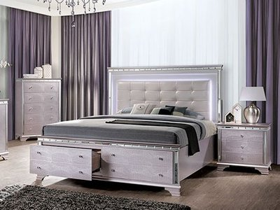 Claudette Cal King Bed Silver Rose & Ivory