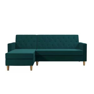 Liberty Reversible Sleeper Sectional Sofa Green Velvet