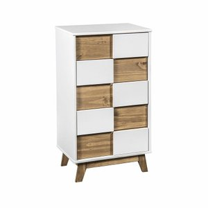 "Livonia 36.22"" High Dresser White And Natural Wood"