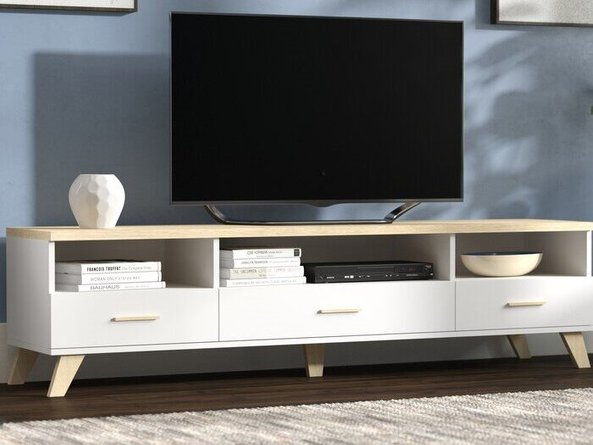 """Paral TV Stand for TVs up to 70"""" White And Beige"""