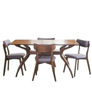 Taurean Dining Set For 4 Dark Gray/Walnut