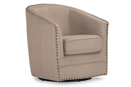 Vlinder Fabric Upholstered Swivel Tub Chair Beige