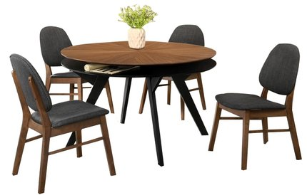 Kellan Dining Set For 4 Walnut