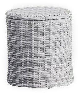 Acamar Outdoor Storage Side Table Gray Wicker