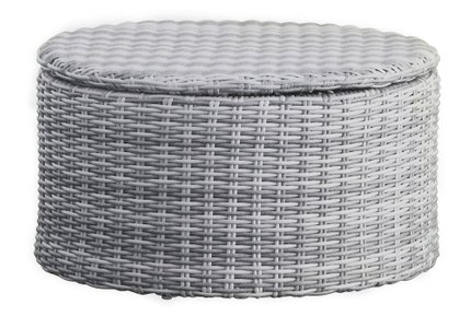 Acamar Outdoor Storage Coffee Table Gray Wicker