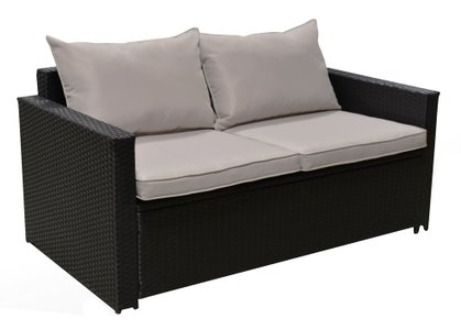 Jeffreybrook Outdoor Storage Sofa & Coffee Table Black Wicker