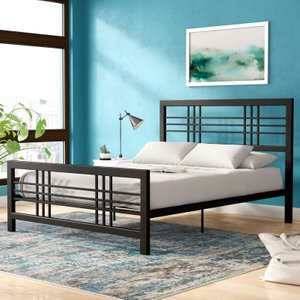 Manona Metal Platform Queen Bed Black