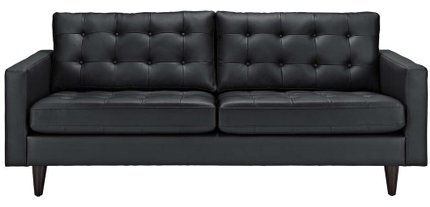 Empress Bonded Leather Sofa Black