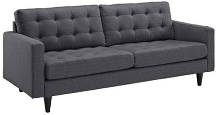 Empress Upholstered Fabric Sofa Gray