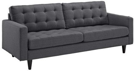 Empress Upholstered Fabric Sofa Gray