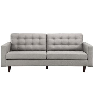 Empress Upholstered Fabric Sofa Light Gray