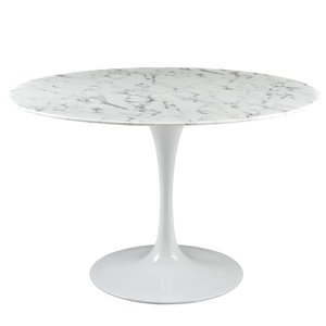"Lippa 47"" Round Artificial Marble Dining Table White"
