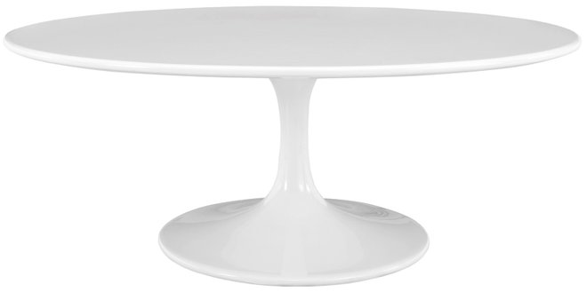 "Lippa 42"" Oval-Shaped Coffee Table White"