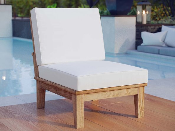 Marina Outdoor Armless Sofa White & Natural