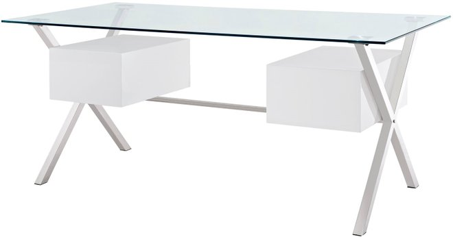 Abeyance Office Desk White & Clear
