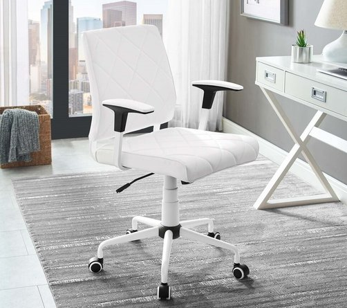 Lattice Vinyl Office Chair White