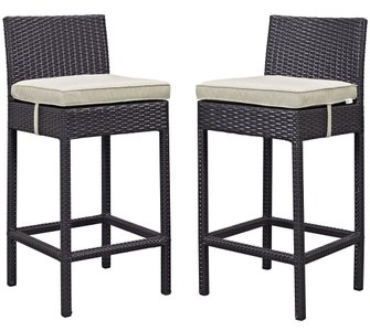 Lift Outdoor Bar Stool Espresso & Beige (Set of 2)