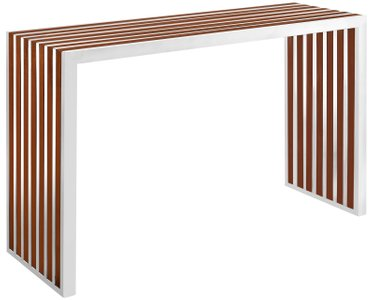 Gridiron Inlay Console Table Walnut