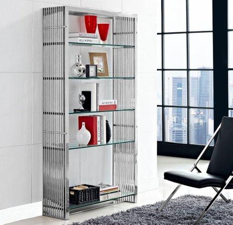 Gridiron Bookshelf Silver & Clear