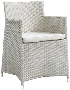 Junction Outdoor Dining Armchair Gray & White