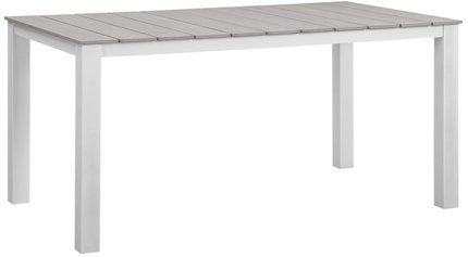 "Maine 63"" Outdoor Dining Table White & Light Gray"
