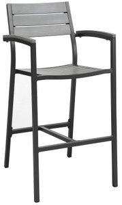 Maine Outdoor Bar Stool Dark Brown & Gray